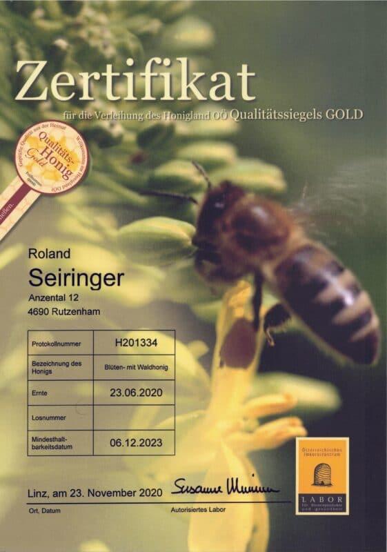 Qualitätszertifikat Blüten mit Waldhonig 2020