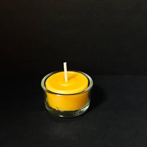 Bienenwachskerze Teelicht mit Glas