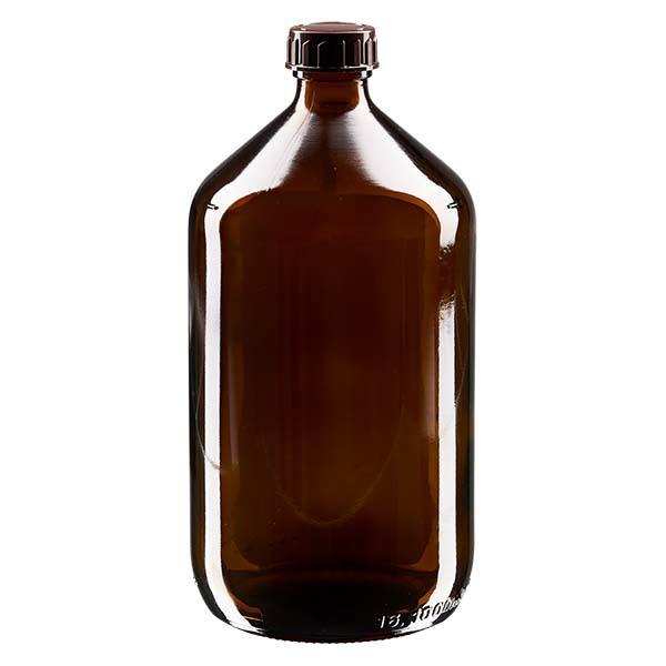 Euro-Medizinflasche 1000ml mit braunem Verschluss